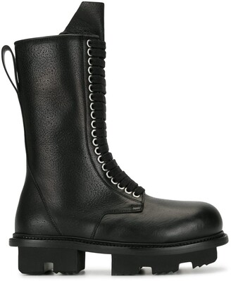 Rick Owens Mid-Calf Lace-Up Boots