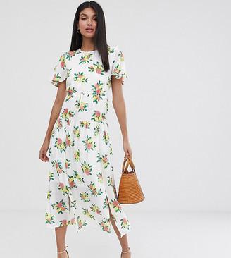 Fashion Union Tall drop hem midi dress in fruit print-White
