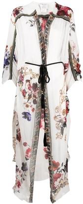 Camilla Floral Ruffle Draped Silk Cardigan