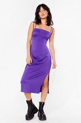 Nasty Gal Womens Slit's Our Moment Satin Midi Dress - Purple