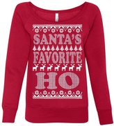 Tee Hunt Santa-s Favorite Ho Wideneck Sweatshirt Funny Ugly Sweatshirt 2XL