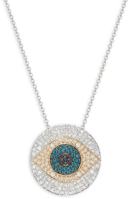 Effy 14K Two-Tone Gold Diamond Evil Eye Pendant Necklace