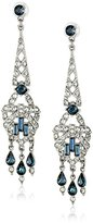 Ben-Amun Jewelry Silver-Tone Simulated Sapphire and Crystal Drop Earrings
