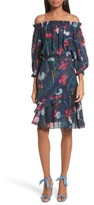 Saloni Women's Grace Print Off The Shoulder Silk Dress