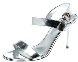Sergio Rossi Metallic Silver Open Toe Ankle Strap Sandals Size 37