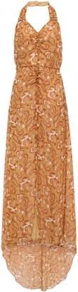 Anna Sui Ruched Printed Silk-georgette Halterneck Gown