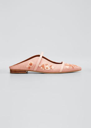 Malone Souliers Maureen 10mm Floral Embroidered Two-Strap Mules