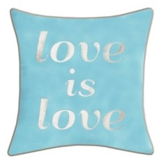 "Ediehome Edie@Home Celebrations Pillow Embroidered ""Love Is Love"""