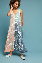 Anthropologie Embroidered Colorblocked Maxi Dress