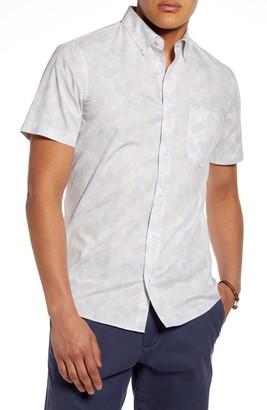 1901 Slim Fit Pineapple Print Short Sleeve Button-Down Shirt