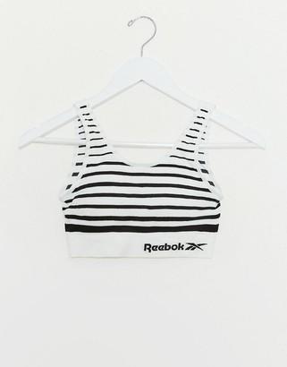 Reebok seamless crop top in black & white stripe