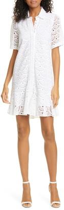 Tanya Taylor Aliciana Short Sleeve Cotton Eyelet Shirtdress