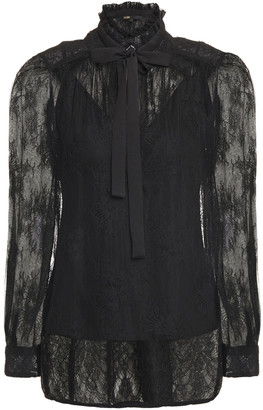 Maje Pussy-bow Crepe De Chine And Lace Blouse