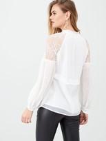 River Island Lace Long Sheer Sleeve V Neck Top- Cream