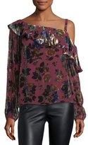 Nanette Lepore One-Shoulder Floral-Burnout Velvet Ruffled Top