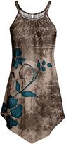 Lily Women's Tunics BGE - Beige & Teal Floral Typographic Point-Hem Sleeveless Tunic - Women & Plus