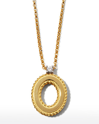 Roberto Coin Princess 18K Yellow Gold Diamond Initial Necklace, O