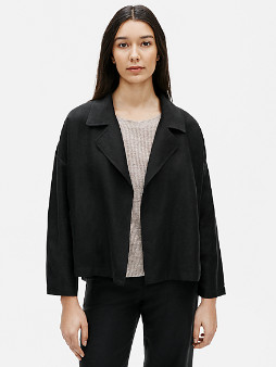 Eileen Fisher Tencel & Organic Linen Slub Jacket - Medium (M)