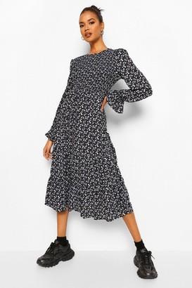 boohoo Floral Print Long Sleeve Tiered Midaxi Smock Dress