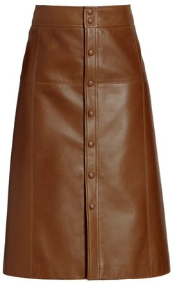 Saint Laurent Leather Midi Skirt