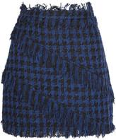 MSGM Fringed Houndstooth Tweed Mini Skirt - Navy