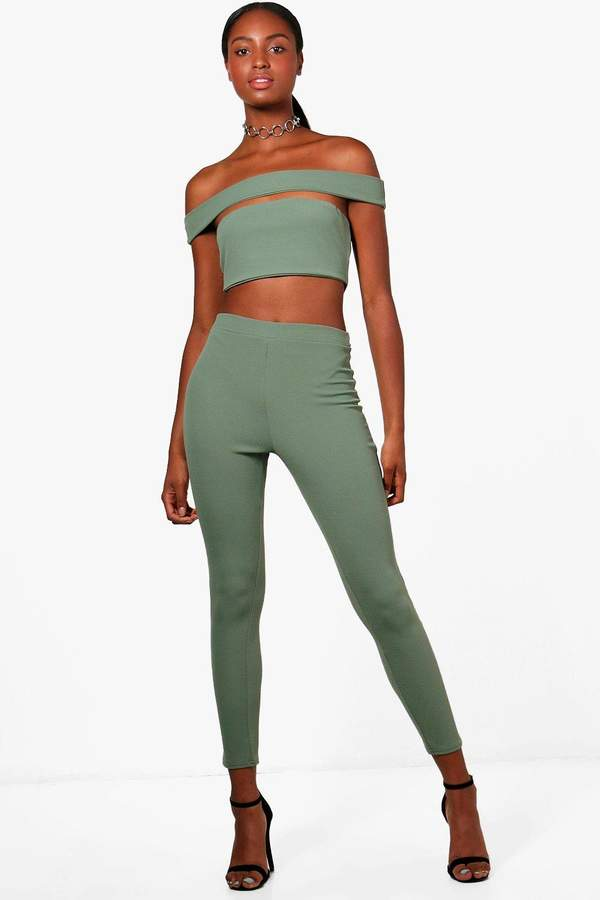 boohoo Rebecca Off Shoulder Crop and Trouser Co-ord