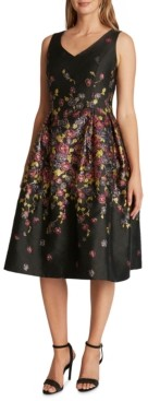 Tahari ASL Printed Jacquard Fit & Flare Dress