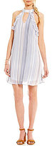 Jodi Kristopher High Keyhole-Neck Striped Cotton Trapeze Dress