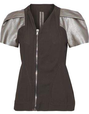Rick Owens Metallic Leather-paneled Crepe Jacket
