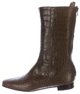 Manolo Blahnik Alligator Mid-Calf Boots