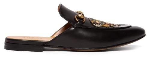 Gucci Kings Tiger Applique Backless Leather Loafers - Mens - Black