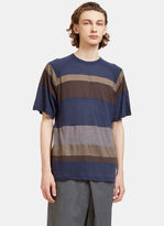 Kolor Men's Border Striped T-shirt In Navy