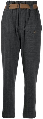 Brunello Cucinelli Pinstriped Belted Trousers
