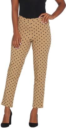 Isaac Mizrahi Live! Regular 24/7 Stretch Flocked Polka Dot Ankle Pants
