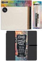 Ranger Dylusions Dyan Reaveley's Square Creative Journal Bundle - 8 x 8 Black Journal, Paint Pens & Insert Pages