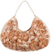 Bally Leather Floral Appliqué Hobo