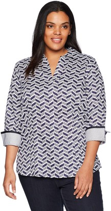 Foxcroft Women's Plus Size Taylor Chevron Wrinkle Free Shirt