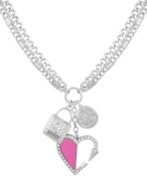 """GUESS Silver-Tone Crystal Heart Charm Pendant Necklace, 24"""" + 2"""" extender"""