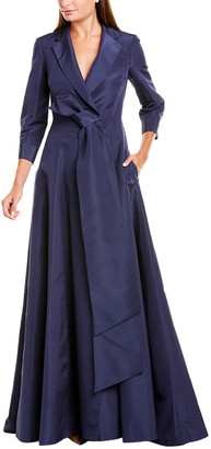 Carolina Herrera Notch Lapel A-Line Silk Trench Gown