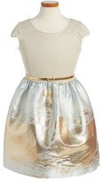 Blush by Us Angels Girl's Metallic Cap Sleeve Dress