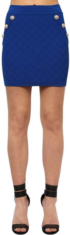 Balmain VISCOSE BLEND KNIT MINI SKIRT