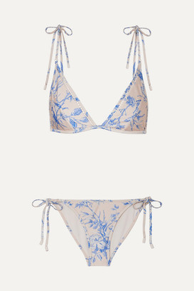 Zimmermann Verity Floral-print Triangle Bikini - Blue