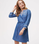 LOFT Petite Chambray Embroidered Shirtdress