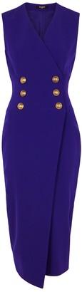 Balmain Purple double-breasted cady wrap dress