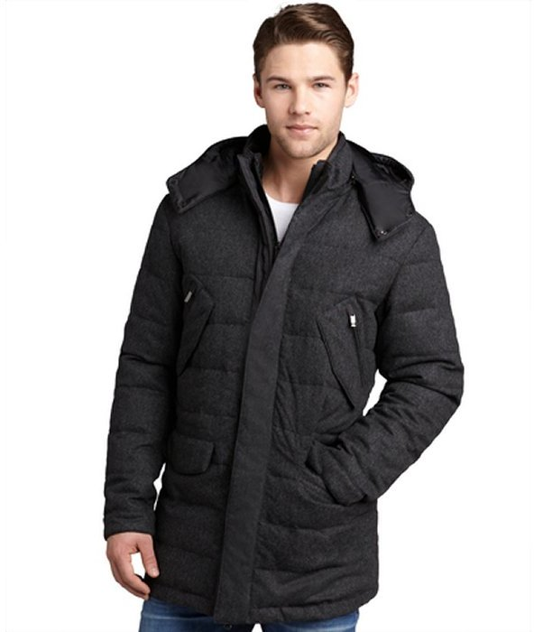 Zegna Sport anthracite wool-cashmere hooded down filled coat