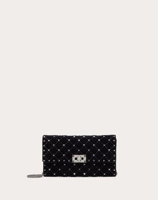 Valentino Spike.it Velvet Chain Bag With Hematite Studs Women Black Viscose 78%, Silk 22% OneSize