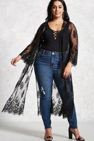 Forever 21 FOREVER 21+ Plus Size Sheer Lace Kimono