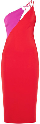 Cushnie One-shoulder Two-tone Stretch-crepe Midi Dress