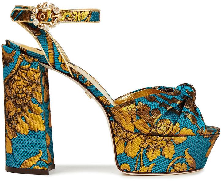 Dolce & Gabbana Crystal-embellished Metallic Printed Brocade Platform Sandals