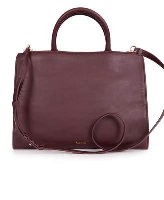 Paul Smith Swirl Trim Leather Tote Bag Colour: BURGUNDY, S